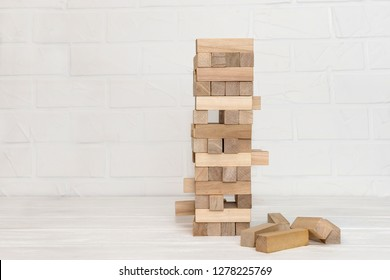 Wooden blocks for building tower close up