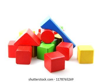 Wooden blocks isolated on white background.