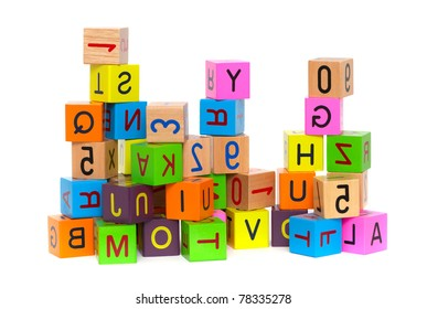 Wooden Blocks With Letters And Numbers On White Background Ez Canvas