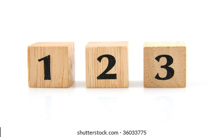 Wooden blocks with the number 1 2 3 isolated on white background