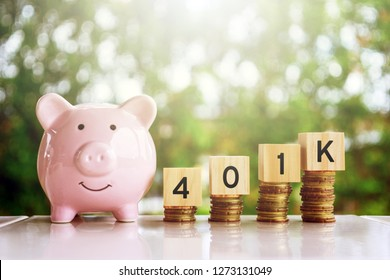 Wooden blocks with number 401k. Business and finance concept.