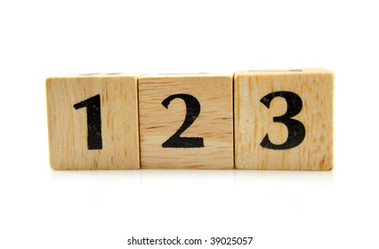 Wooden blocks with numbers 1 2 3 isolated on white background