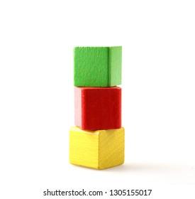 Wooden Blocks On White