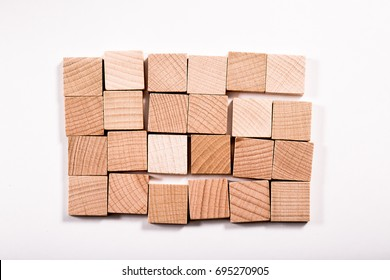Wooden blocks on White background slightly shifted