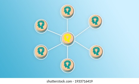 Wooden blocks with people icon on blue background, Organisation structure, social network, Leadership, team building, recruitment business,