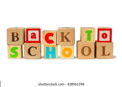 Wooden blocks with sentence Back To School