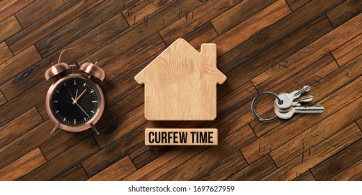 wooden blocks in shape of a house with text CURFEW TIME on wooden background