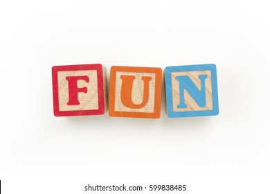"""Wooden Blocks Spelling """"FUN"""" (with clipping path)"""
