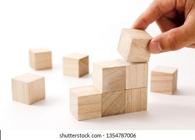 Wooden blocks success image