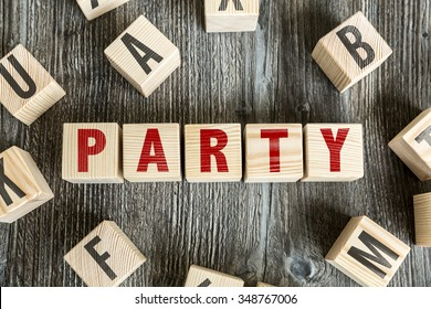 Wooden Blocks with the text: Party