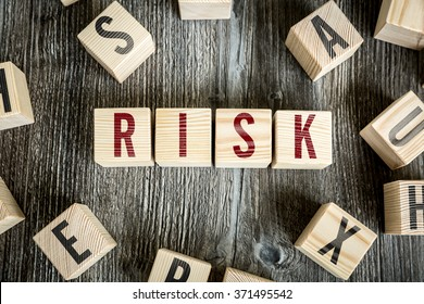 Wooden Blocks with the text: Risk