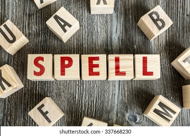 Wooden Blocks with the text: Spell