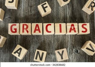 Wooden Blocks with the text: Thank You (in Spanish)