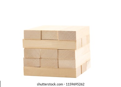 Wooden blocks tower game isolated on white