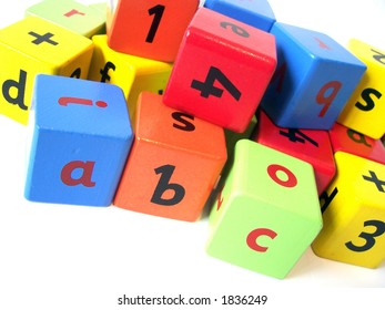 Wooden blocks used to help children learn english