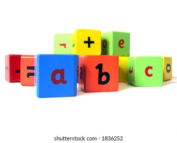 Wooden blocks used to teach children english