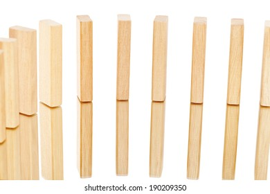 Wooden blocks which are in series.