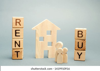 Wooden blocks with the word Rent or buy and a family stands near the house. Make the right decision. Real estate concept. Rent apartment. Property. Rental, renting home. Buying. Purchase housing