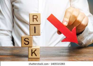 Wooden blocks with the word Risk and a down arrow. Reduce financial risk for investment and capital. Protection of investment funds and assets. Deposit insurance. Debt restructuring. Assessment