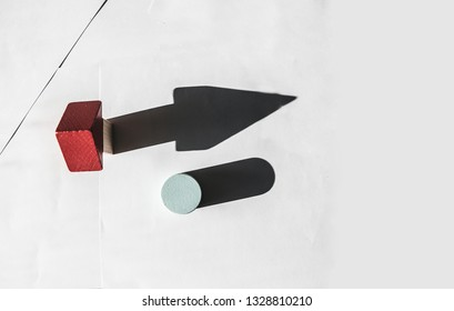 Wooden blocks.Individuality and uniqueness concept.  Light and shadow of Wooden blocks on white background.
