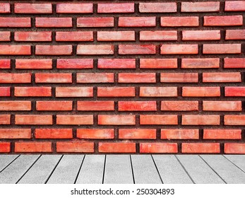 Wooden board the brick wall background