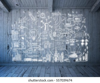 Wooden board with business sketch in room. Business idea concept. 3D Rendering