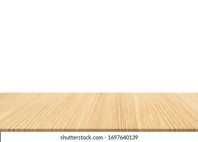 Wooden board empty table on white background, can be used for display or montage your products.Mock up for display of product.