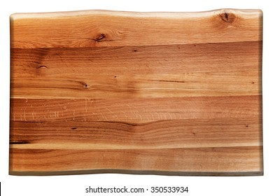 Wooden board isolated on white. Natural oak wood. Background, texture