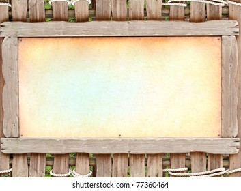 wooden board with old brawn paper