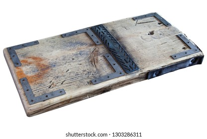 Wooden board / plank, with metal plates, for vintage, steampunk designs - isolated on white background.
