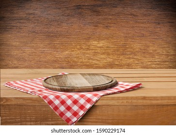 Wooden board and sackcloth on wooden table