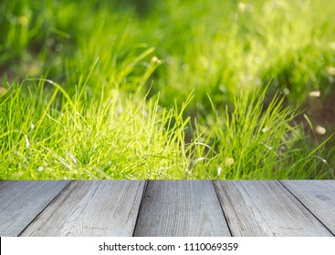 Wooden Board Shelf or Table in front of Grass at a green Park as Background