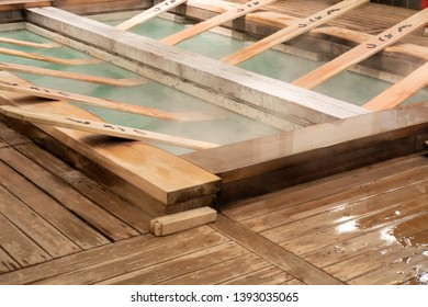 "Wooden board for ""Yumomi"",a traditional way to cool down Kusatsu's hot spring water to bathing temperature without diluting it with cold water. (The non-English word = the name of Kusatsu city)"