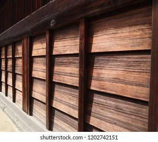 Wooden boarded wall of old house in Japan