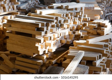 wooden boards in the factory pile, wood texture