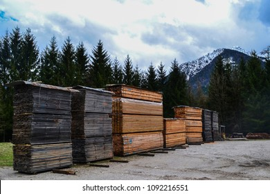 Wooden boards, lumber, industrial wood, timber. Stacked lumber