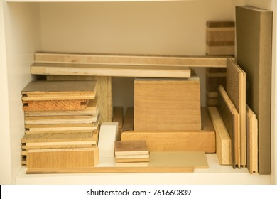 Wooden boards on a shelf