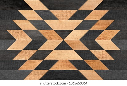 Wooden boards texture. Dark wooden wall with symmetry geometric pattern.