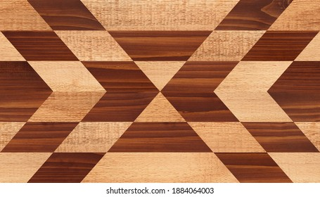 Wooden boards texture. Wooden wall with symmetry geometric pattern.
