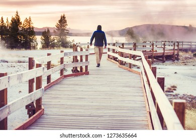Wooden boardwalk along geyser fields  in Yellowstone National Park, USA