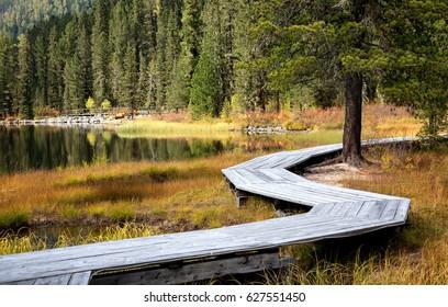 Wooden boardwalk along Rakhmanovskoe lake in East Kazakhstan, Altai mountains