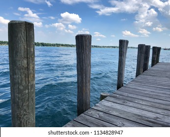 Wooden boat dock on lake St Clair