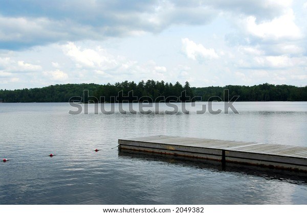Wooden boat dock on a lake