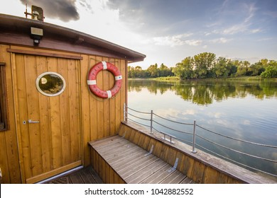 A wooden boat docked in Loire Valley, France