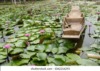 Wooden boat floating for travelers people rowing with Red lotus or pink water lily in pond at garden of Red Lotus floating market in Nakhon Pathom, Thailand