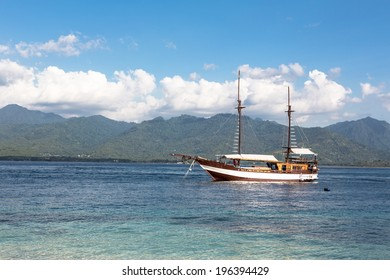 A wooden boat in Gili Air island, just off the coast of Lombok in Indonesia, South East Asia