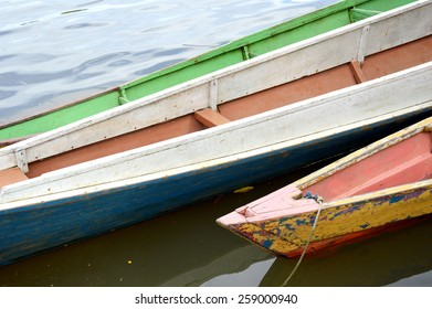 wooden boat on the river