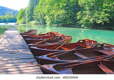 Wooden boat in a row on a lake. Plitvice. Croatia