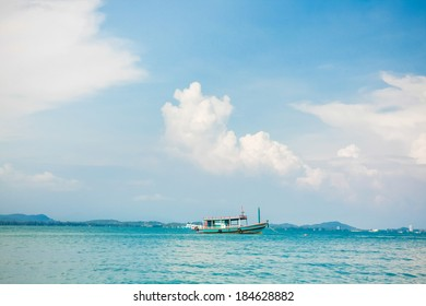 Wooden boat in a sea travelling to Samed island in Rayong, Thailand