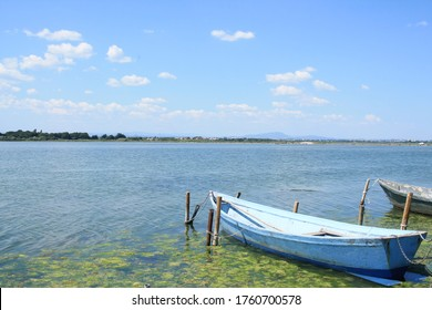 Wooden boat in Villeneuve les Maguelone, a seaside resort in the south of Montpellier, Herault, France